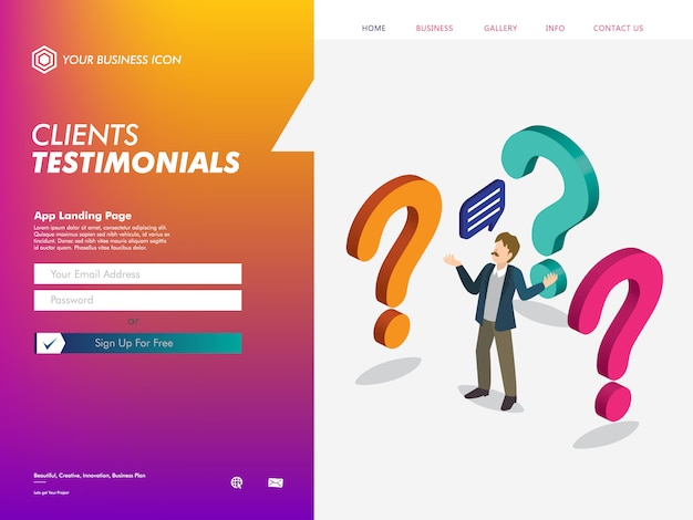 Шаблон целевой страницы веб-сайта клиентов Premium векторы