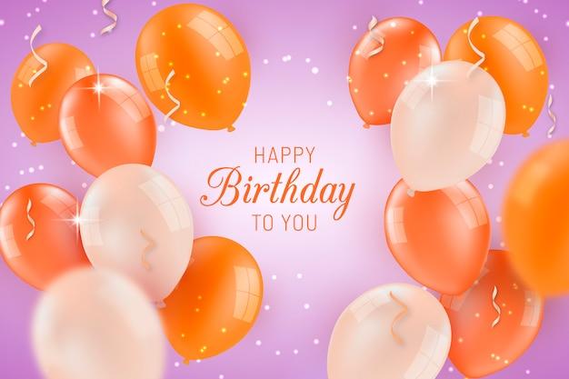 День рождения фон с воздушными шарами Бесплатные векторы