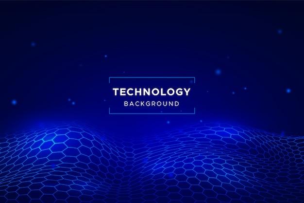 六角形のグリッドと抽象的な技術の背景 無料ベクター