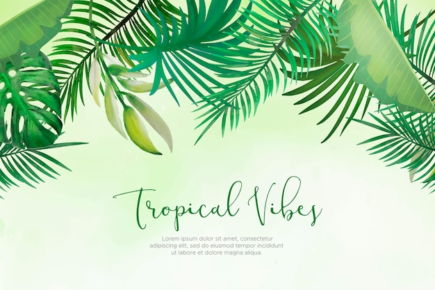 Естественный фон с раскрашенными вручную тропическими листьями Бесплатные векторы