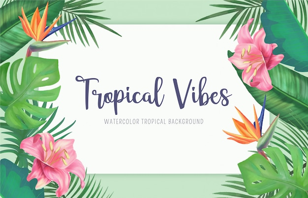 水彩の葉と花を持つ熱帯の背景 無料ベクター