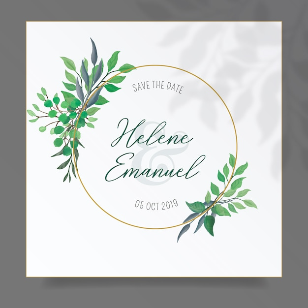 Цветочная рамка с милыми акварельными листьями Бесплатные векторы