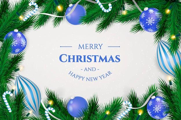 現実的な青いボールとクリスマスフレームの背景 無料ベクター