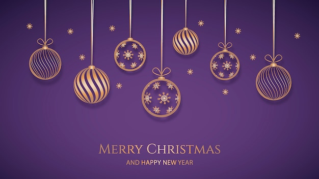 紙のスタイルで金色の装飾とクリスマスの背景 無料ベクター