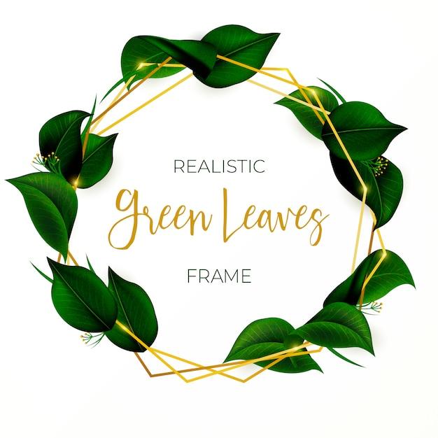緑の葉を持つ美しい花輪 無料ベクター