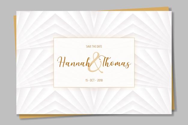 白と黄金の優雅な招待 無料ベクター