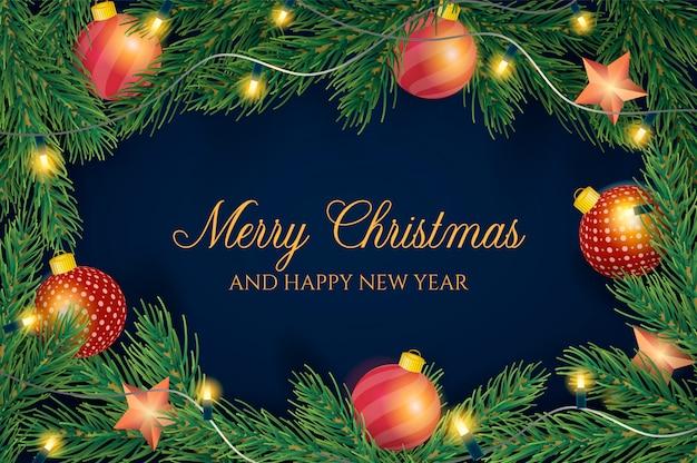 現実的な装飾と美しいクリスマスの背景 無料ベクター
