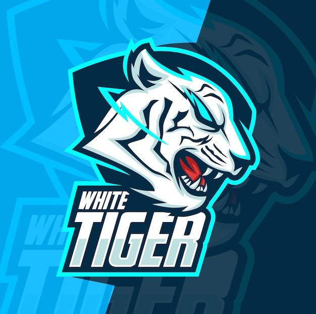Белый тигр талисман киберспорт дизайн логотипа Premium векторы