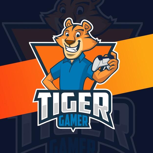 Дизайн логотипа талисмана тигра геймера Premium векторы