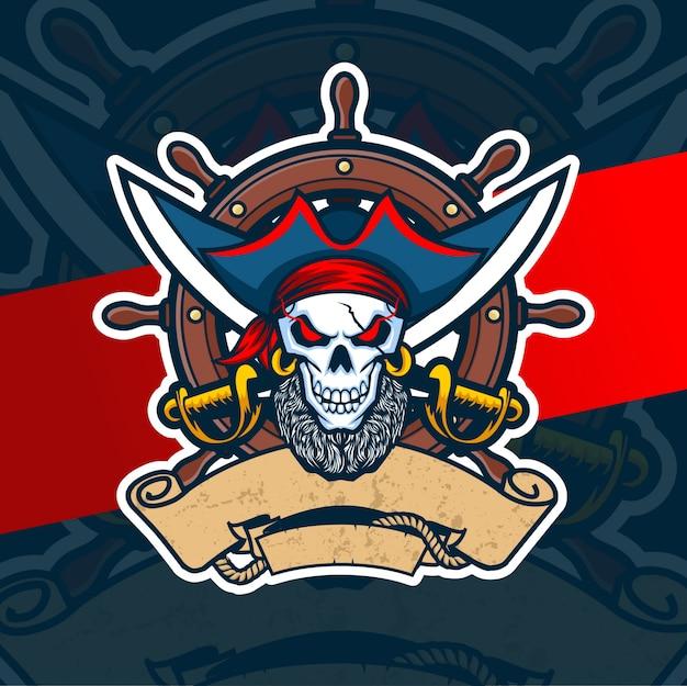 Пиратский череп талисман киберспорт дизайн логотипа Premium векторы