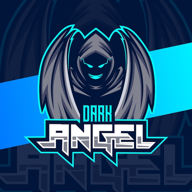 Темный ангел талисман киберспорт логотип Premium векторы