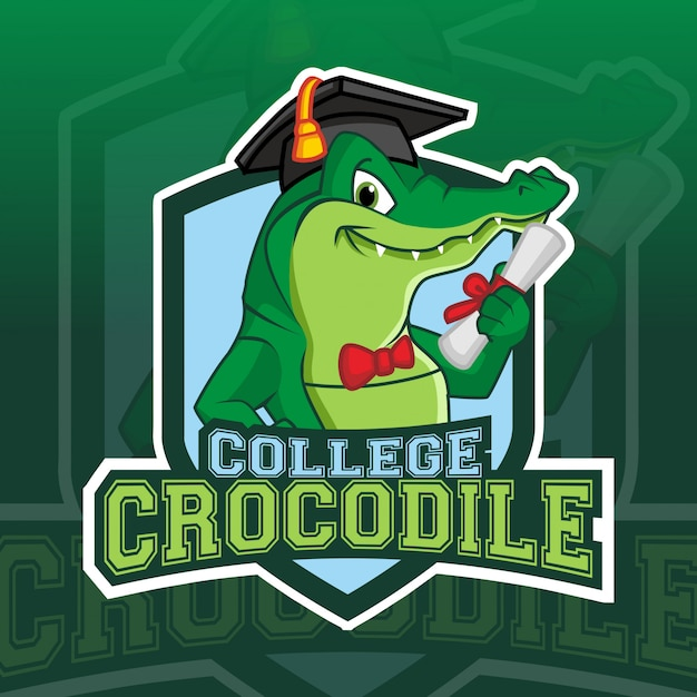 Крокодил колледж талисман киберспорт логотип Premium векторы