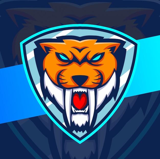 Тигр талисман киберспорт дизайн логотипа Premium векторы