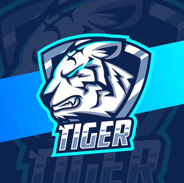 Белый тигр талисман кибер дизайн логотипа Premium векторы
