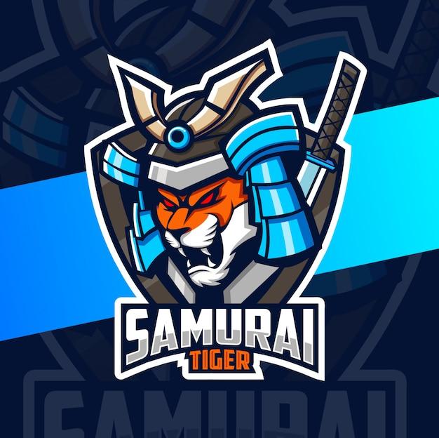 Тигр самурай талисман киберспорт дизайн логотипа Premium векторы