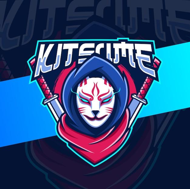 Кицунэ ниндзя талисман киберспорт дизайн логотипа Premium векторы