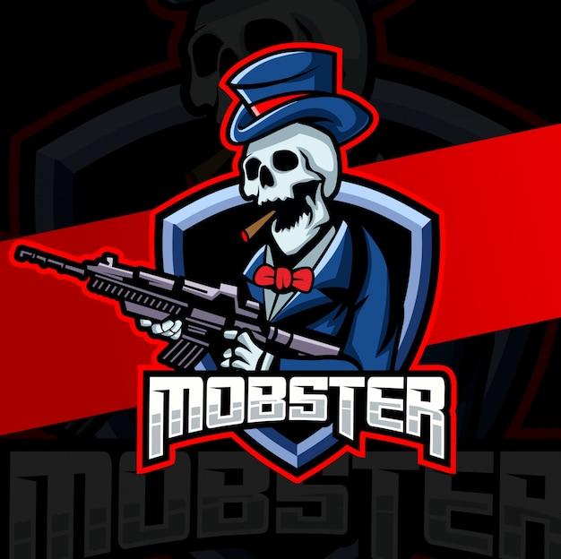 Гангстер гангстер череп талисман кибер дизайн логотипа Premium векторы