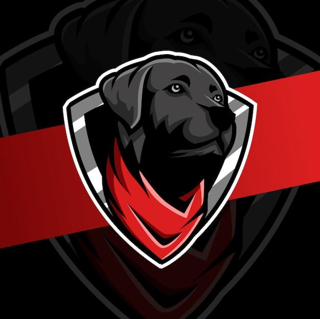 Черная голова собаки с логотипом бандана талисман киберспорт Premium векторы