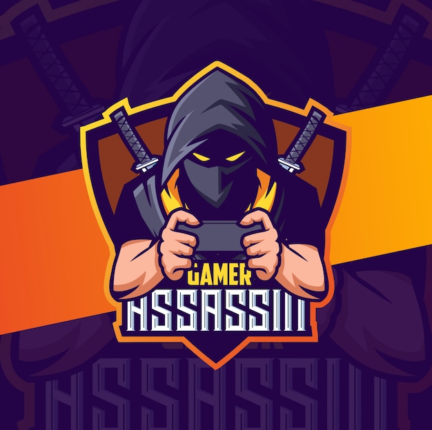 Геймер ниндзя ассасин талисман кибер спорт дизайн логотипа Premium векторы