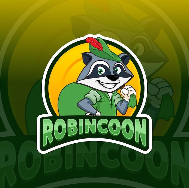 Робин гуд енот талисман кибер дизайн логотипа Premium векторы