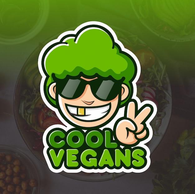 クールなビーガンのマスコットのロゴデザイン Premiumベクター