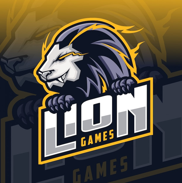 Логотип талисмана льва Premium векторы