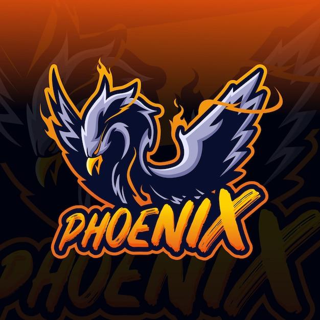 Феникс талисман киберспорт логотип Premium векторы