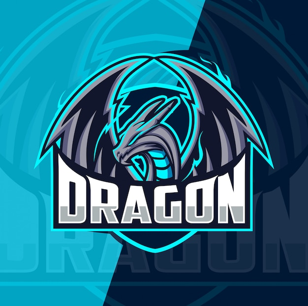 Дракон талисман кибер дизайн логотипа Premium векторы