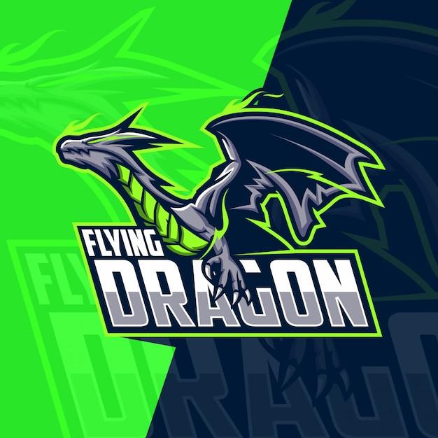 Летающий дракон талисман кибер дизайн логотипа Premium векторы