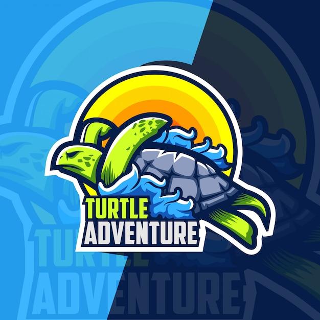 Черепаха приключения талисман киберспорт дизайн логотипа Premium векторы