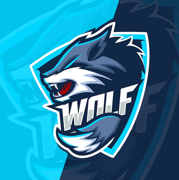 Волк волки талисман киберспорт дизайн логотипа Premium векторы