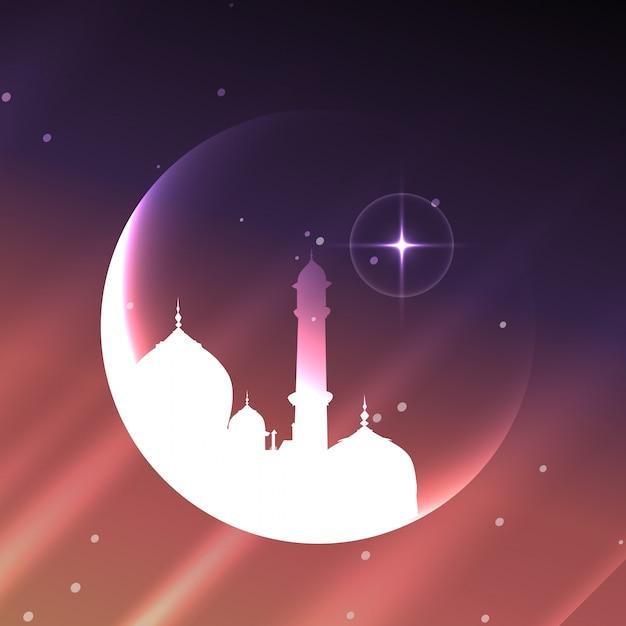 月デザインの光沢のあるイスラム教徒のモスク 無料ベクター