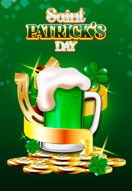 Дизайн плаката к пиву и золотой ленте святого патрика Premium векторы
