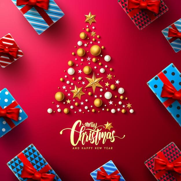 クリスマスと新年の赤いポスターギフトボックスとクリスマスの装飾要素 Premiumベクター