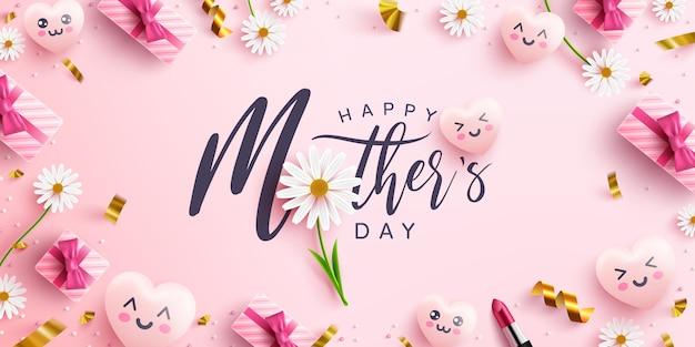 День матери плакат или баннер со сладкими сердечками, цветком и розовой подарочной коробке на розовом фоне. шаблон для продвижения и покупки или фон для концепции любви и день матери Premium векторы