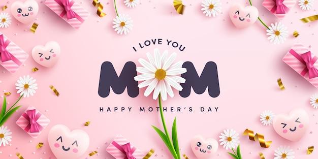 母の日のポスターまたは甘いハート、ピンクの背景に花とピンクのギフトボックスとバナー。プロモーションとショッピングテンプレートまたは愛と母の日の概念の背景 Premiumベクター