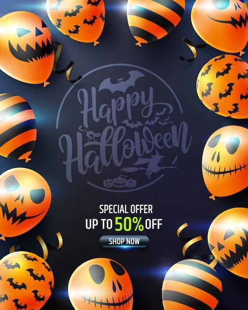 Хэллоуин вертикальная распродажа баннер со страшными шарами Premium векторы