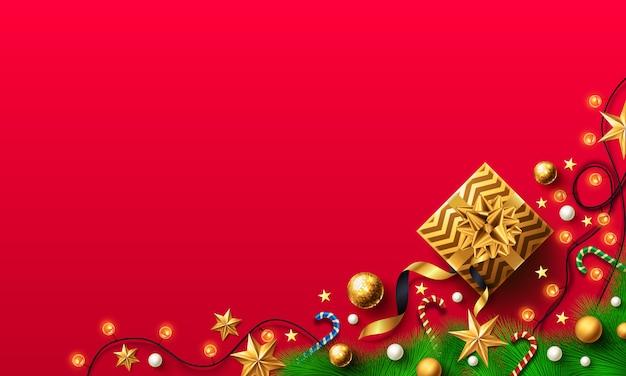 ゴールデンギフトボックスとクリスマスと新年の赤背景 Premiumベクター