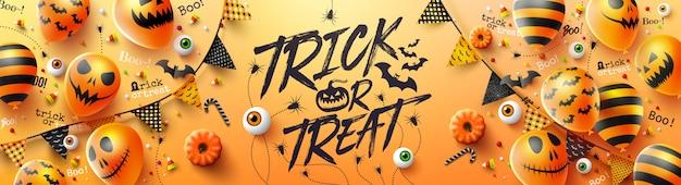 Счастливый хэллоуин трюк или угощение с призрачными воздушными шарами хэллоуина Premium векторы