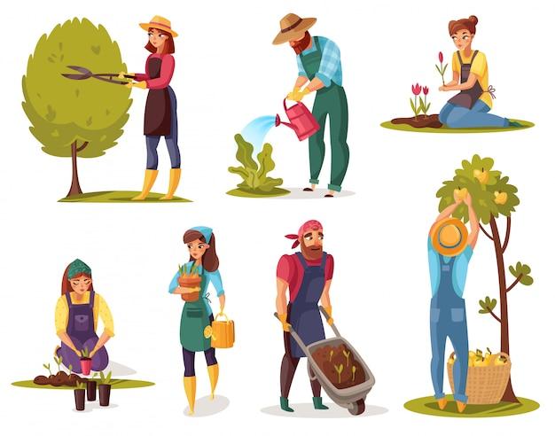 Набор садовых мультфильмов Premium векторы