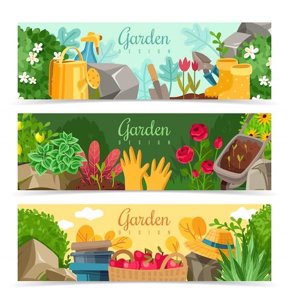 園芸植物の水平方向のバナーセット Premiumベクター