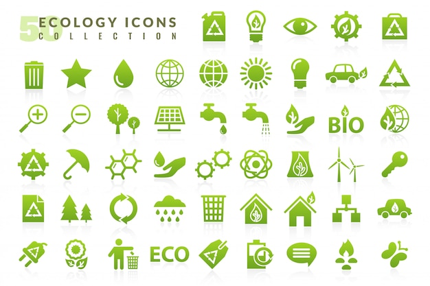 Установить экология плоские иконки Premium векторы