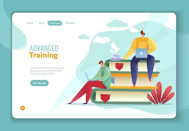 従業員検索トレーニングのランディングページ Premiumベクター