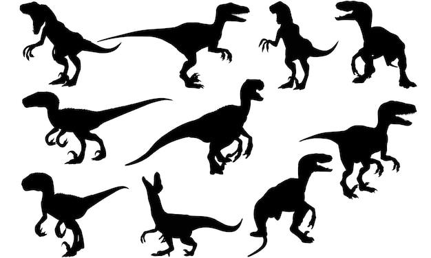 ヴェロキラプトル恐竜シルエット Premiumベクター