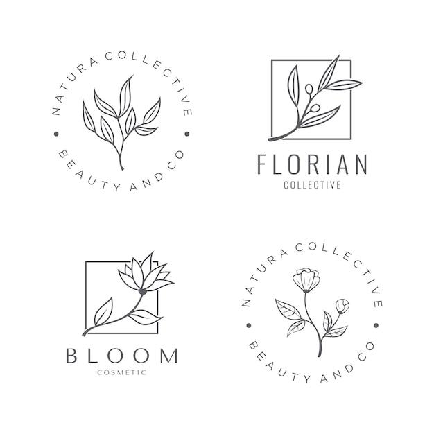 Набор натуральных косметических логотипов с красивым цветком Premium векторы