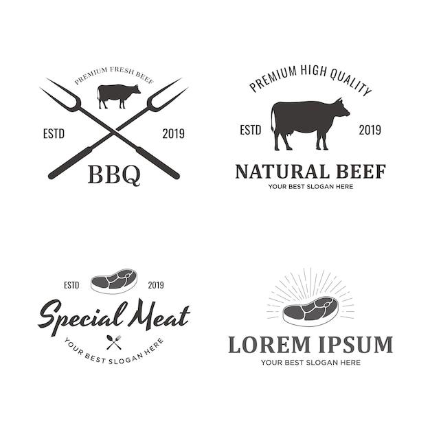 牛肉のロゴのセット Premiumベクター