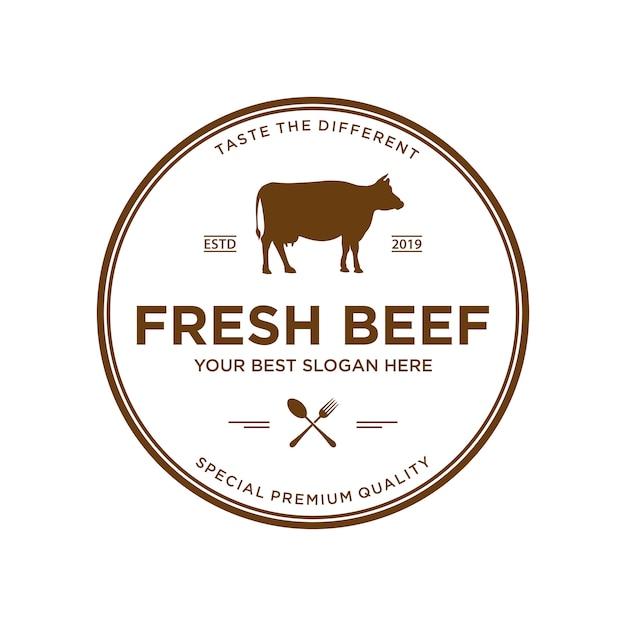 牛肉のロゴデザインのインスピレーション、バッジとビンテージスタイル Premiumベクター