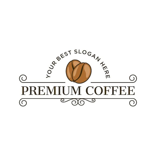 ビンテージスタイルのプレミアムコーヒーロゴ Premiumベクター