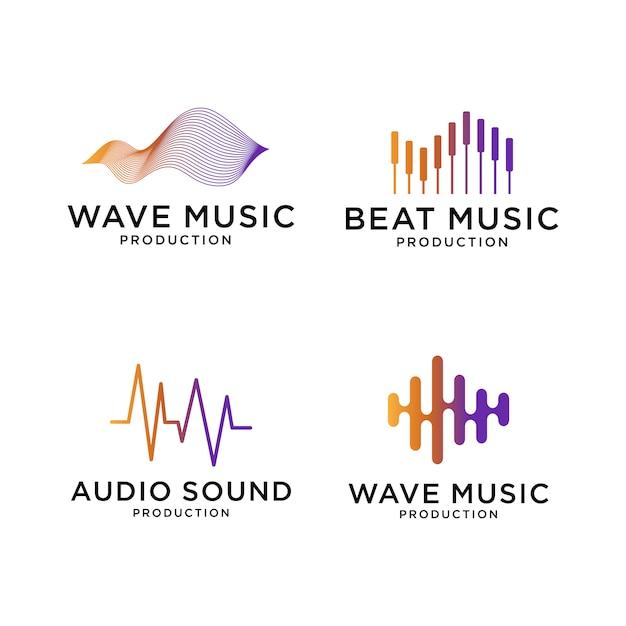 波音楽ロゴデザインのセット Premiumベクター