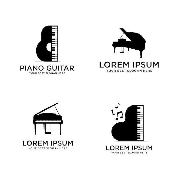 Набор пианино логотип музыки Premium векторы